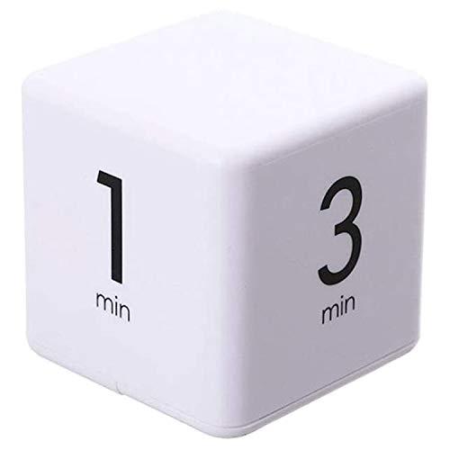 ZONSUSE Temporizador de Cubo, Temporizador Cocina Digital, Cronómetro LED Temporizador Gravedad de Cuenta Atrás con Alarma Fuerte, para gestión del Tiempo, Aprendizaje (Blanco 1-3-5-10 Minutos)