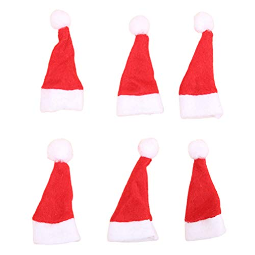 Amosfun Mini sombreros rojos de santa gorros de piruleta de navidad sombreros de santa claus gorro de caramelo para...