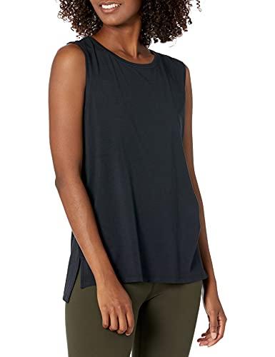 Amazon Brand - Core 10 Women's Soft Pima Cotton Stretch Full Coverage Yoga Sleeveless Tank, Black M (8-10)