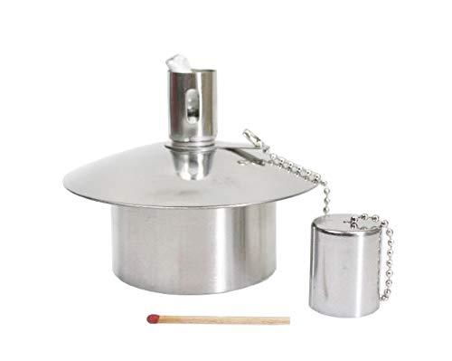 Öllampe Einsatz - Ölbehälter Gartenfackel - aus Edelstahl - ~85 CCM Inhalt - Qualitätsprodukt Hannas Laden