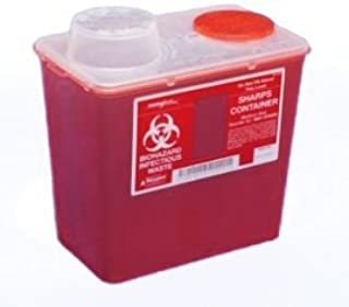 Monoject Medium 8 Qt. Sharps Disposal Container, Chimney-Top, Red - 8881676285