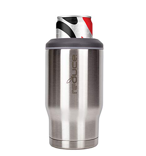 Reduce Can Cooler – 4-in-1 Stainless Steel Can Holder and Beer Bottle Holder, 4 Hours Cold – The Drink Cooler For 12 oz Slim Cans, Regular Cans, Bottles and Mixed Drinks – Stainless Steel