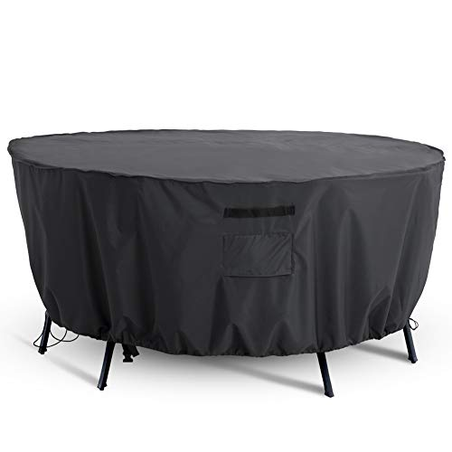 Tempera Outdoor Round Patio Furniture Cover, Waterproof UV and Fade Resistant Durable Large Round Table Dining Set Cover, Space Grey, 96 inches Diameter