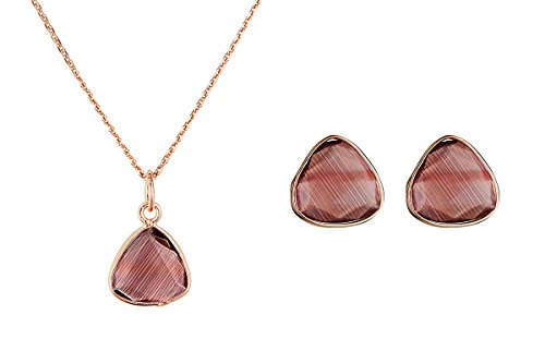 Córdoba Jewels   Conjunto de Gargantilla y Pendientes en Plata de Ley 925 bañada en Oro Rosa con Piedra semipreciosa. Diseño Triangle Amatista Oro Rosa