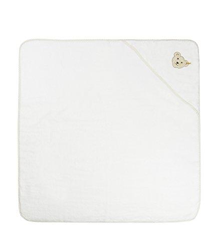 Steiff Unisex Baby-Badetuch mit Kapuze 2928 Weiß (Bright White 1000), 100x100 cm