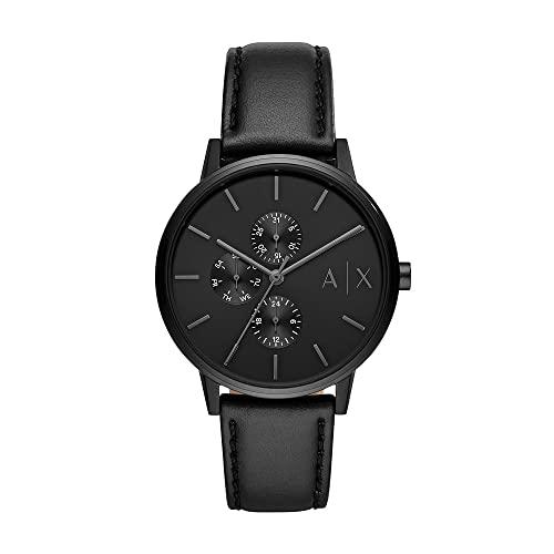 Armani Exchange Herren Analog Quarz Uhr mit Leder Armband AX2719