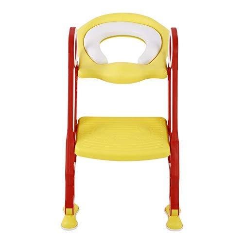 Kindertoilette mit Leiter,Faltbarer Baby-WC-Leiter Toilettentrainer mit Treppe 36.5cm Breite Kinder Toilettenstuhl für 2-7 jährige Kids(rot + gelb)