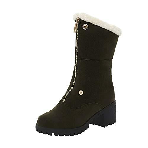 MOTOCO Frauen Warme Stiefeletten Block High Heel Einfarbig Rundkopfstiefel Reißverschluss Tragende Retro Stiefel(41 EU,Armeegrün)