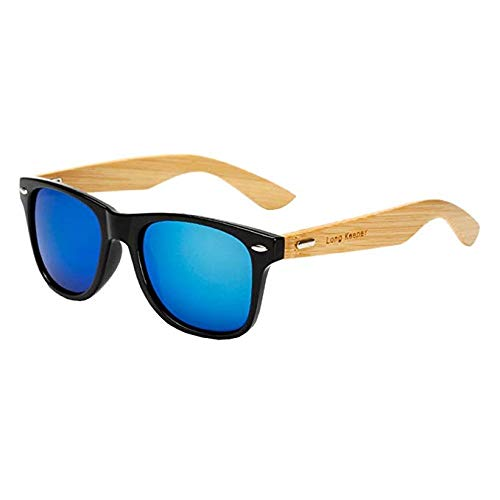 Salt Tech Polarized Bamboo Sunglasses 400 UV Mirror Reflective Colors (Blue w/Case)