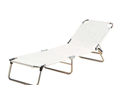 Jan kurtz amigo chaise longue blanc, aluminium, textilène (fibres de polyester gainées de pVC) imperméable et anti-uv pour enfant