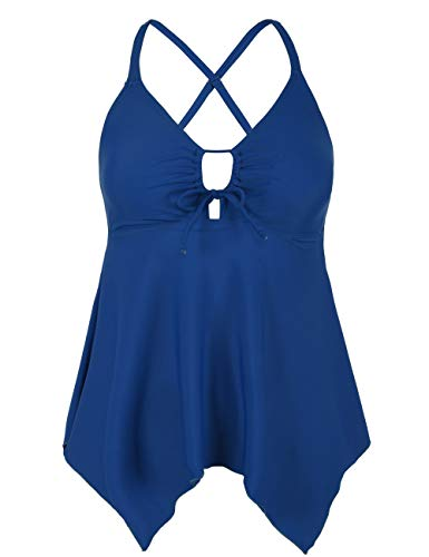 Firpearl Women's Black Flowy Swimsuit Crossback Plus Size Tankini Top US24 Peacock Blue