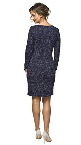 Torelle Damen 2in1 Umstandskleid mit Stillfunktion, Modell: Blufi, Langarm, dunkelblau-Weiss - 2