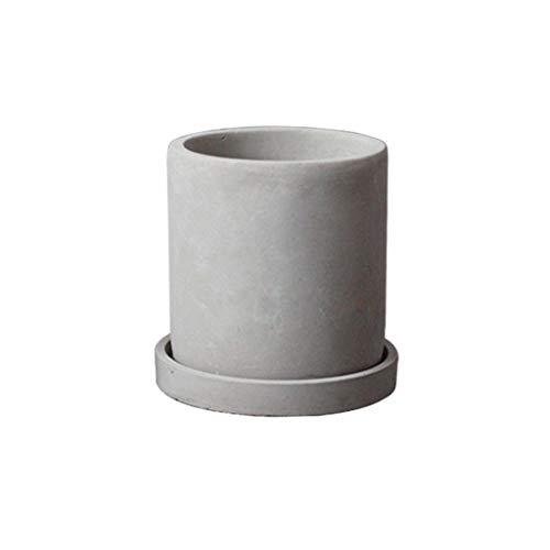 ADAHX Macetas, macetas de Cemento, frascos de arado espinoso, Bandeja cilíndrica de Agua Verde en Maceta para Balcones de Interior, macetas de Plantas de Oficina (sin Plantas),Gray,10cmroundbowl