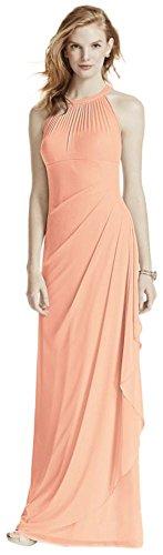 David's Bridal Long Mesh Bridesmaid Dress with Illusion Halter Neckline Style F15662, Bellini, 26
