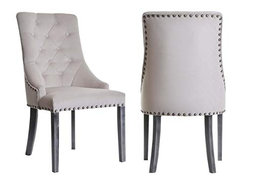 Juego de 2 sillas de comedor hechas a mano en Europa con tachuelas de terciopelo Chesterfield, color beige