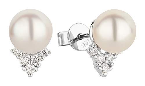Ardeo Aurum Damen Ohrringe-Ohrstecker aus 585 Gold Weißgold mit 0,16 ct Diamant Brillant 7,0 mm Akoya-Perlen