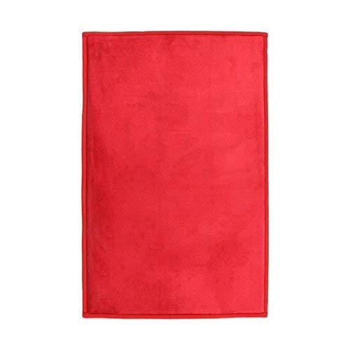 Tapis Extra-Doux Effet Velour, 90cm x 60cm, Rouge
