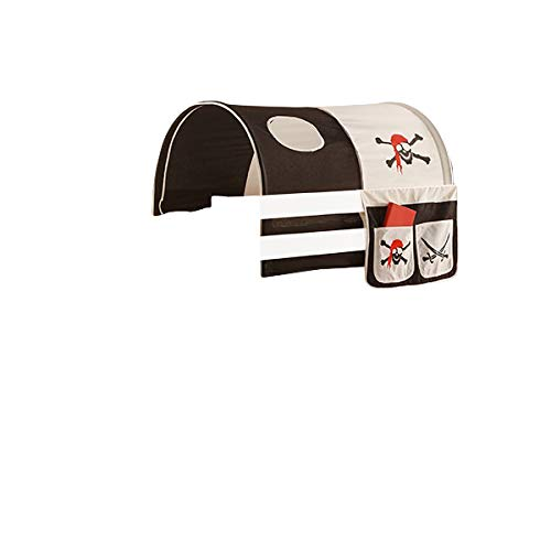Jugendmöbel24.de Tunnel + Bett-Tasche Pirat 100% Baumwolle Stofftasche Baldachin Dach Bettdach Himmel für Hochbett Spielbett Etagenbett Kinderbett Kinderzimme