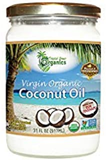 Organic Superior Unrefined Virgin Coconut Oil, Coconut Oil For Skin, Hair Care, Cooking, Baking, Smoothies, by Tropical Green Organics (31 Ounce)