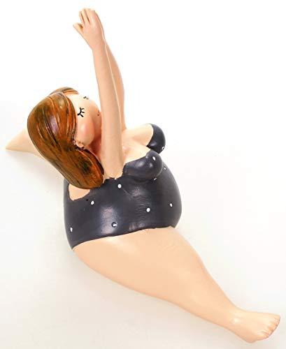Schick-Design Yoga Dame im Grauen Badeanzug 10 cm Hanumanasana Spagat Mädchen Rubensfrau mollige Dame Badenixe Dicke Frau Badezimmer Figur Pilates Joga