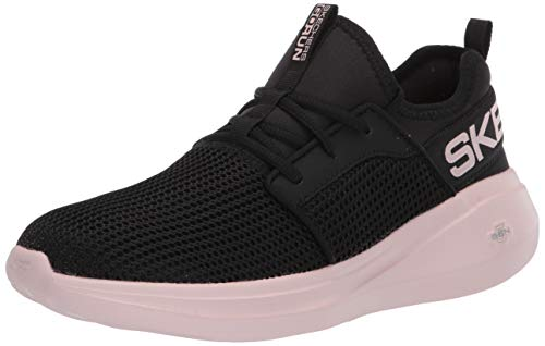 Skechers GO Run Fast, Zapatillas Mujer, Negro Negro Negro Textil Pink Trim Bkpk, 37 EU