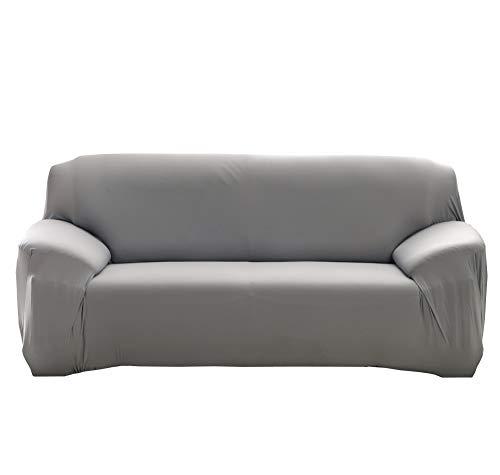 Monba SofaÜberwürfe,Stretch Elastischer Stoff für 1/2/3/4-Sitzer-Sofa,Couch-Sessel, reine Farbe Schonbezug, Polyester,grau, 2 Seater:140-185cm