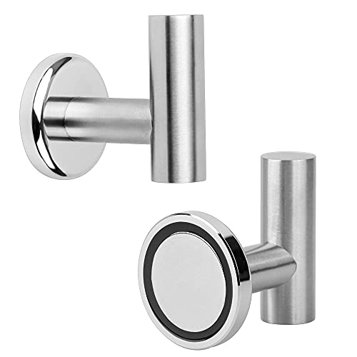 MHDMAG Magnetic Hooks Coat, Magnet Holder Heavy Duty , Magnet Hooks with Rare Earth Neodymium for Pot Holder, Grill, Refrigerator, Home, Office, Bags, Workplace or Traveling. Pack of 2.