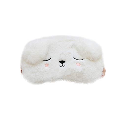 Lurrose oogmasker kat masker pluche cartoon slaapmasker pluche oogstrip Kerstmis schattig oogscherm oogmasker afdekking oogbescherming voor op reis nickertje slapen (zwart) Standard wit