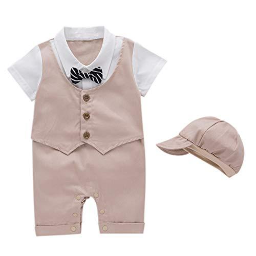 Baby Costume de Bébé Garçon Gentleman Chemise T-Shirt Hauts Manche Courte Barboteuse Faux Deux+ Chapeau Mariage Soirée Cérémonie Party Suit