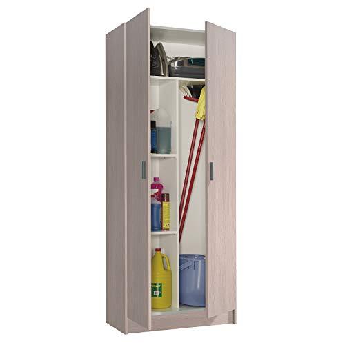 Habitdesign Armario Multiusos, Escobero, 2 Puertas, Acabado en Color Roble, Medidas: 73 cm (Ancho) x180 cm (Alto) x 37 cm (Fondo)