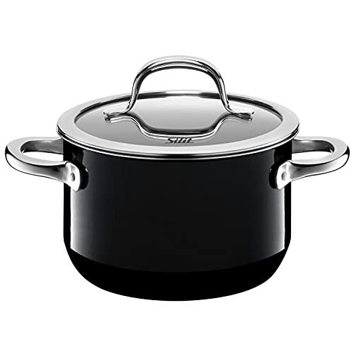Silit Passion Black Koch/- Fleischtopf, hoch, 16cm, Glasdeckel, 2,0l, Silargan Funktionskeramik, Topf Induktion, schwarz
