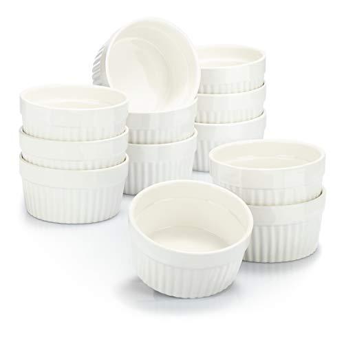 Moldes para soufflé COM-FOUR® 12x - cuencos de cerámica para creme brulee - moldes para horno - cuencos para postres y moldes para pastelería para p. ej. aleta de ragú - 200 ml cada uno - en blanco