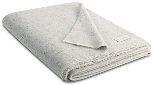 Biederlack Decke Sofaüberwurf Plaid Wolle Grau 130 x 170 cm