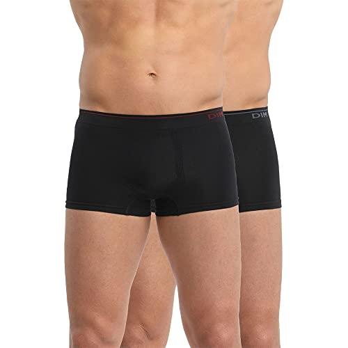 Unno DIM Basic Herren Sin Costuras Algodón Boxershorts, (Negro Detalle Azul/Rojo 8UC), (Herstellergröße: 6)