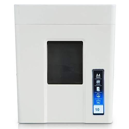 Akk 4x25mm Trituradora de Papel de Corte Cruzado 5 Hojas d la Vez 10 Minutos de Tiempo de Trabajo Velocidad 2m / min Destruye El CD de la Tarjeta de Papel Bote de Basura 10L, Blanco