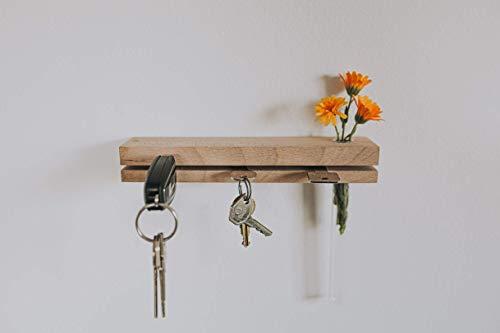 Schlüsselbrett aus Holz mit Blumenvase (handgefertigt) Schlüsselhalter/Moderne Schlüsselleiste/Schlüssel-Board/Eiche/Massivholz