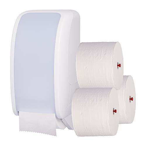 Blanc HYGIENIC Toilettenpapier-Spender Set Cosmos – 2 Spender für Einzelblatt Toilettenpapier inklusive 32 Klopapier-Rollen 3-lagig, für Wand-Montage, Weiß