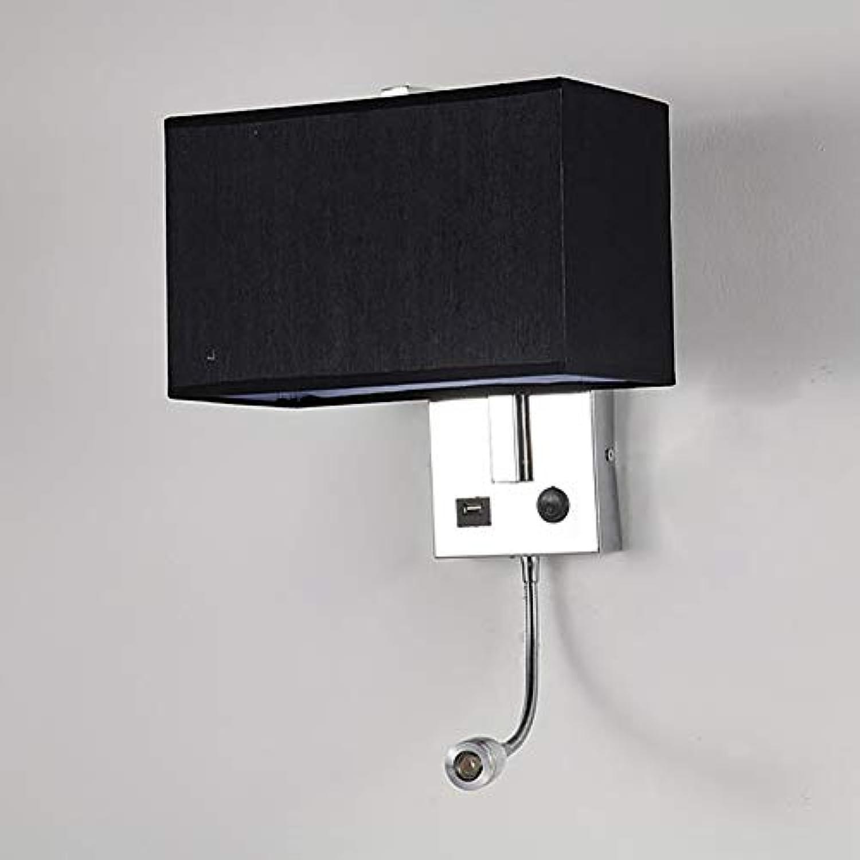 CCSUN E27 Wandleuchte Mit USB Port, Schwanenhals Lampe reading Tuch Wandleuchte Für Bett Wohnzimmer-schwarz