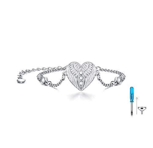 LONAGO Angel Wing Urn Bracelet for Ashes 925 Sterling Silver Heart Memorial Keepsake Cremation Bracelet Jewelry