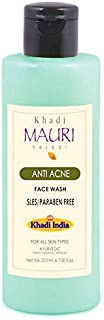 Khadi Mauri Herbal Anti Acne Face Wash - Fights Pimples & Unclogs Pores - SLES & PARABEN FREE - Enriched with Neem & Tea Tree Oil - 210 ml