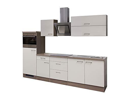 Smart Möbel Küchenzeile 270 cm Magnolie/Tennessee Eiche mit Dunstabzugshaube, Kühlschrank und Spüle - Magnolia