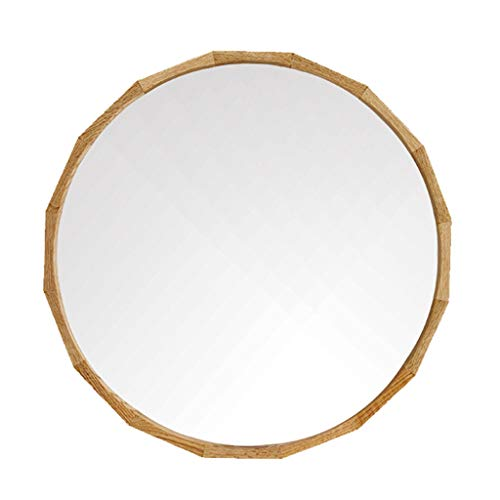 50cm (19,7 ″) Kosmetikspiegel an der Wand befestigter Kosmetikspiegel mit Eichenholzrahmen für Wohnzimmer Badezimmer Rasierspiegel Wandbehang Dekorativer Spiegel