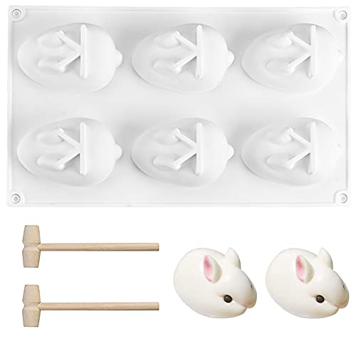 3D Easter Rabbit Bunny Chocolate Silicone Mold with 2 Pcs Wooden Hammers, Large 6 Cavity DIY Baking Moulds Easter Bakeware Tray Tool Decorative Cooking Supplies for Candy Ice Mousse Cake Jelly Candle
