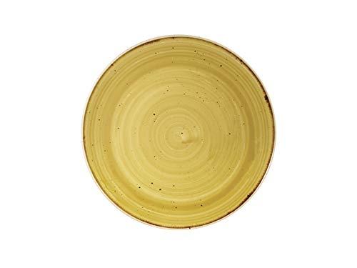 Churchill 393583 Stonecast - Plato llano (porcelana, 22 cm), color amarillo