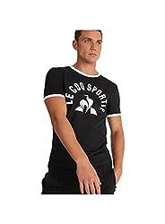 professional Le Coq Sportif Ess T-shirt Ss Nr.  3 MT Shirts  Polo Shirts Mens Black / White – M – Short Sleeves…
