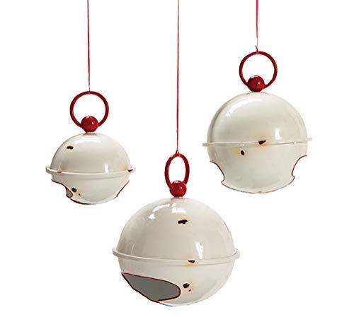 Wowser Campanas de Navidad blancas rústicas con detalles rojos, decoración...