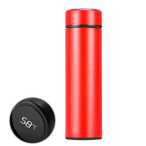 Qagazine 500 ml taza térmica de vacío con pantalla de temperatura inteligente LED Botella de agua de acero inoxidable para el hogar oficina camping viajes