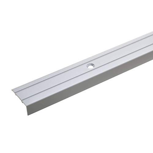 acerto 32008 Aluminium Stufenkanten-Profil - 100cm x 24,5mm – Silber * 10mm Höhe* Rutschfest * Robuster Kantenschutz | Gelochtes Treppenkanten-Schutzprofil für Laminat, PVC | Rutschhemmend