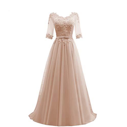 Brautkleider Elegant V-Ausschnitt Lang Abendkleider Ballkleider A-Linie 1/2 Ärme Brautjungfernkleider Partykleid für Hochzeit Champagner 50