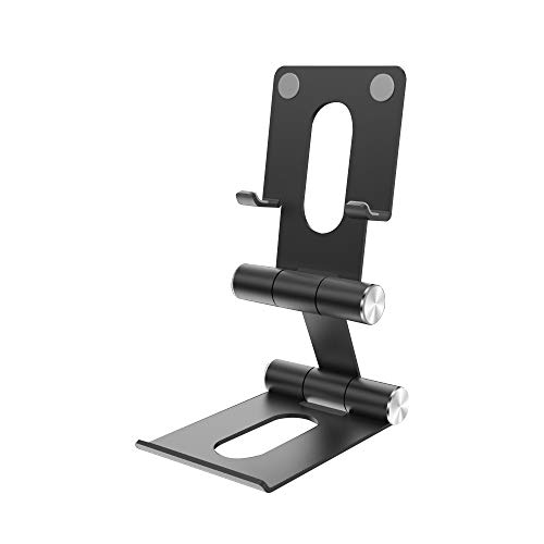 Fesjoy support, Soporte de escritorio para teléfono móvil Soporte de metal portátil plegable multifuncional de doble eje Adecuado para teléfono móvil/tableta Negro